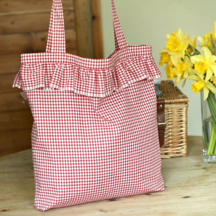 Gingham and Ruffles - Summer Tote Bag