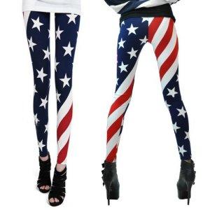 LOCOMO Women Patriot Patriotic American US Star Country Flag Legging Tregging Tight Ankle Length Fo