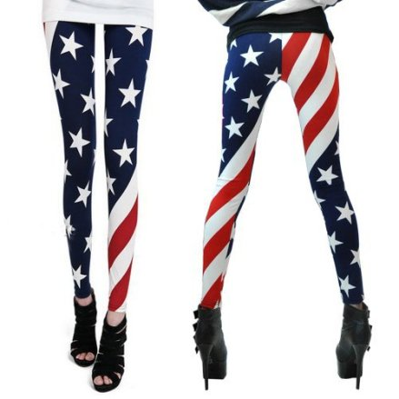 LOCOMO Women Patriot Patriotic American US Star Country Flag Legging Tregging Tight Ankle Length Fo