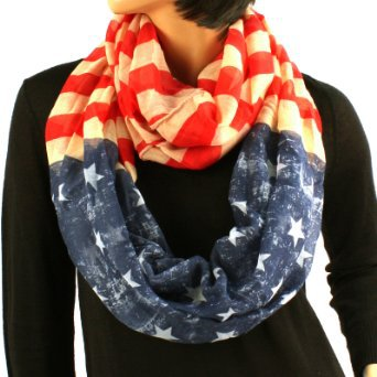 Original Patriotic American USA Flag Loop Circle Chain Infinity Scarf
