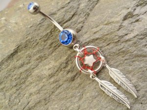 Patriotic Dream Catcher Belly Button Jewelry